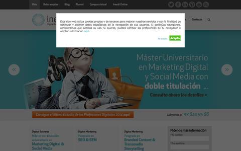 Screenshot of Home Page inesdi.com - INESDI, Digital Business School | Formación especializada en la nueva economía digital - captured Sept. 25, 2014