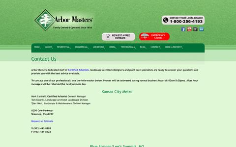 Screenshot of Contact Page arbormasters.com - Contact Us - Arbor Masters Tree, Lawn Care and Landscaping - captured Dec. 12, 2018
