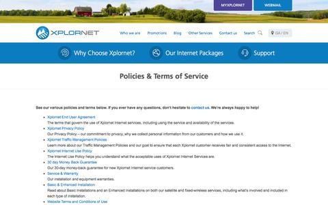 Screenshot of Terms Page xplornet.com - Please Read Our Legal Policies &Terms of Service - Xplornet - captured June 29, 2017
