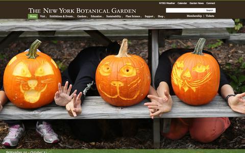 Screenshot of Home Page nybg.org - New York Botanical Garden - captured Sept. 19, 2014