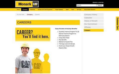 Screenshot of Jobs Page monark-cat.com - Careers - captured Oct. 26, 2014