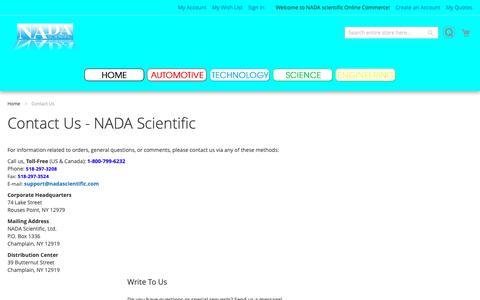 Screenshot of Contact Page nadascientific.com - Contact Us  - NADA Scientific - captured Oct. 31, 2018