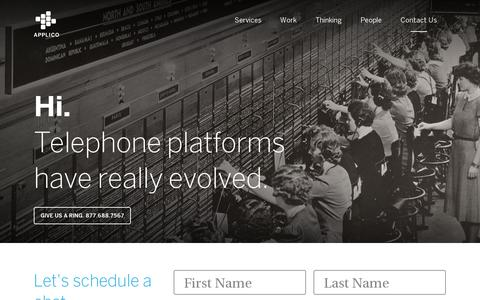 Screenshot of Contact Page applicoinc.com - Contact Us   Applico - The Platform Innovation™ Company - captured July 20, 2014