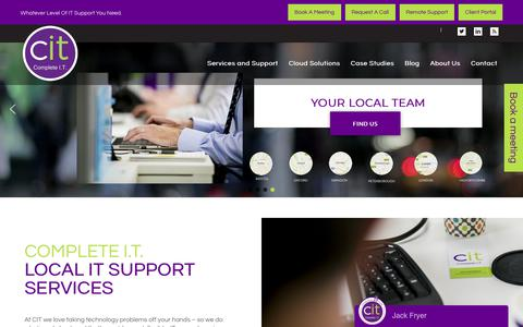 Screenshot of Home Page complete-it.co.uk - Complete IT | Local IT Support For Your Business - captured Sept. 29, 2018