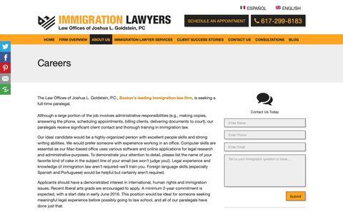 Screenshot of Jobs Page jgoldlaw.com - Immigration Lawyer Boston | Careers - captured April 29, 2019