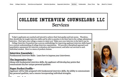 Screenshot of Services Page collegeinterviewcounselors.com - College Interview Counselors llc - Services - captured Oct. 8, 2014