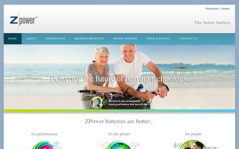 Screenshot of Home Page zmp.com - ZPower | The better battery. - captured Sept. 17, 2014