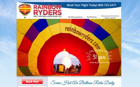 Screenshot of Home Page rainbowryders.com - Balloon Rides in Albuquerque and Phoenix/Scottsdale - Rainbow Ryders - captured Oct. 1, 2014