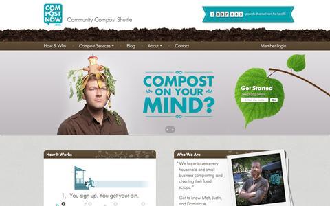 Screenshot of Home Page compostnow.org - CompostNow - captured Nov. 10, 2016