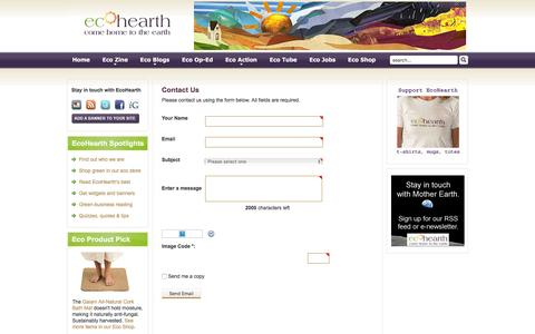 Screenshot of Contact Page ecohearth.com - EcoHearth - Contact Us - captured Dec. 7, 2015