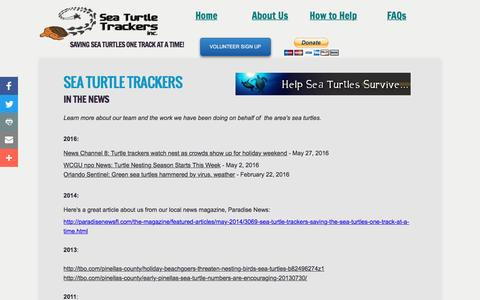 Screenshot of Press Page seaturtletrackers.org - Sea Turtle Trackers in the news - captured Nov. 28, 2016