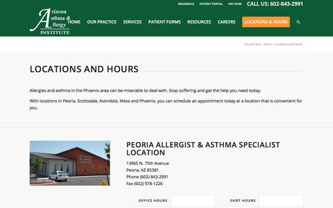 Screenshot of Locations Page Hours Page azsneeze.com - Phoenix Allergist Locations - Arizona Asthma & Allergy Institute - captured Oct. 7, 2017