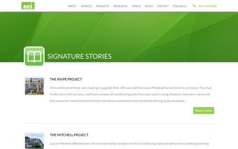 Screenshot of Case Studies Page ecicomfort.com - ECI Comfort | Signature Stories - captured June 18, 2016