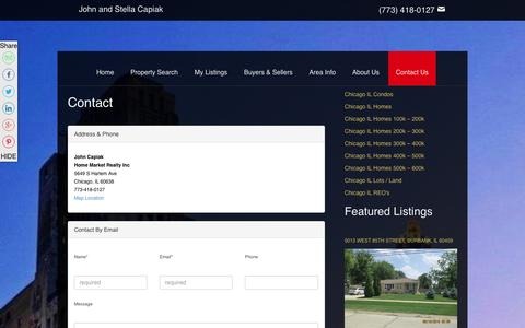 Screenshot of Contact Page johncapiak.com - Contact   John and Stella Capiak   Real Estate Agent   Chicago, Illinois Homes For Sale - captured Jan. 31, 2016