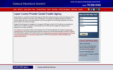 Screenshot of About Page geraldfranklinagency.com - Liquor License Agency   Gerald Franklin License Service   Houston Texas - Gerald Franklin Agency - captured Sept. 26, 2014