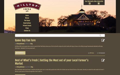 Screenshot of Blog hilltop1892.com - Country Kitchen Blog - Fine Dining Novato | Hilltop 1892 - captured Oct. 8, 2014