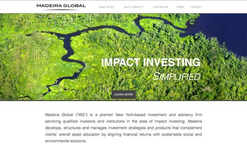 Screenshot of Home Page mgimpact.com - Madeira Global - captured Oct. 3, 2014