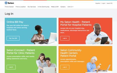 Screenshot of Login Page seton.net - Seton Healthcare Family Portal Login - captured Jan. 20, 2016