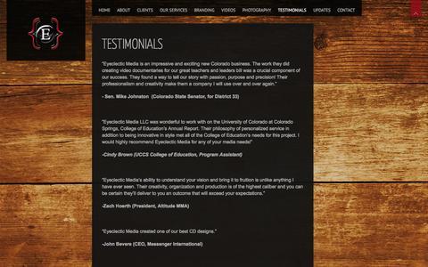 Screenshot of Testimonials Page eyeclecticmedia.net captured Oct. 3, 2014
