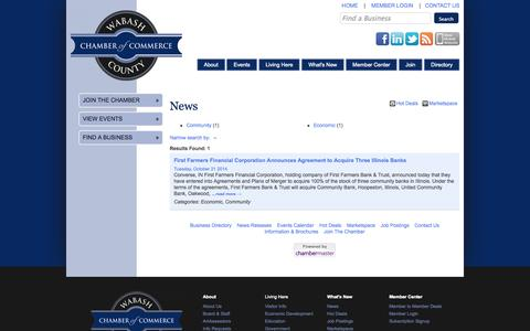 Screenshot of Press Page wabashchamber.org - News - Wabash County Chamber of Commerce - CM - captured Oct. 27, 2014