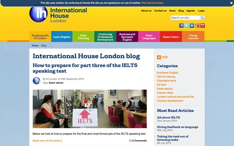 Screenshot of Blog ihlondon.com - Blog | International House London - captured Sept. 25, 2014