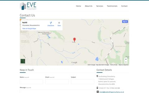 Screenshot of Contact Page evebuildingconsultancy.co.uk - Building Surveys – Eve Building Consultancy Ltd – Chartered Building Surveyors based in Gloucestershire - captured Oct. 3, 2014