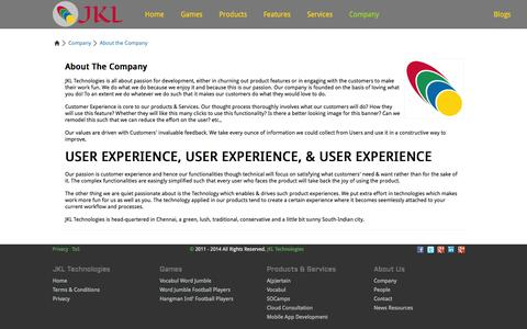 Screenshot of About Page jkltech.in - JKL Technologies - About the Company | Social Objective Marketing Campaigns | English Vocabulary Tool | Cloud Services Adoption & Deployment Consultation - captured Oct. 4, 2014
