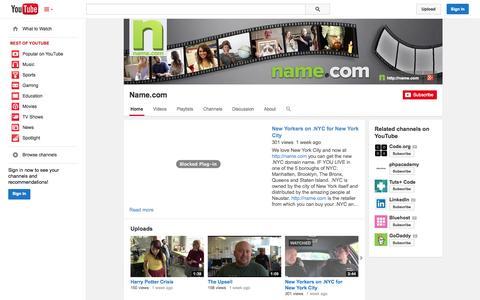 Screenshot of YouTube Page youtube.com - Name.com  - YouTube - captured Oct. 29, 2014