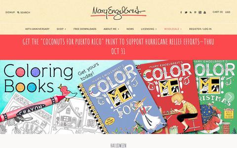 Screenshot of Home Page maryengelbreit.com - Mary Engelbreit, Licensed Art Studio, St Louis, Missouri - captured Oct. 17, 2017
