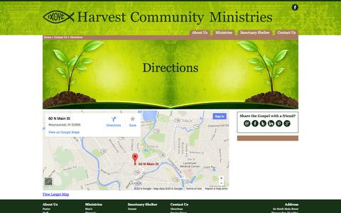 Screenshot of Maps & Directions Page harvestcommunity.net - Directions | Contact Us | Harvest Community Ministries - captured Oct. 2, 2014