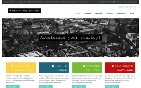 Screenshot of Home Page berlin-startup-consulting.com - Berlin Startup Consulting - Accelerate your Startup! - captured Sept. 30, 2014