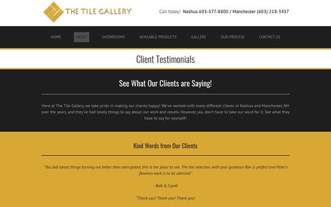 Screenshot of Testimonials Page tilegalleryusa.com - The Tile Gallery Reviews | Manchester, Nashua, Bedford, Amherst, & Windham, NH - captured Dec. 13, 2018
