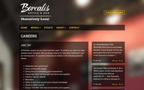 Screenshot of Jobs Page borealisgrille.ca - Careers | Borealis Grille & Bar | Guelph - captured Nov. 3, 2014