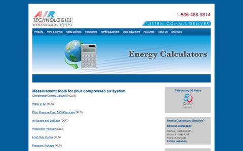 Energy Calculators - Air Compressors, Air Compressor Systems from Air Technologies | Columbus, Cleveland, Cincinnati, Canton, Toledo, Indianapolis, Fort Wayne, Detroit, Grand Rapids, Erie, Pittsburgh, Nitro, Louisville, Lexington