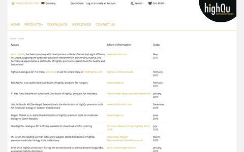 Screenshot of Press Page highqu.com - highQu GmbH |  news - captured Sept. 20, 2017