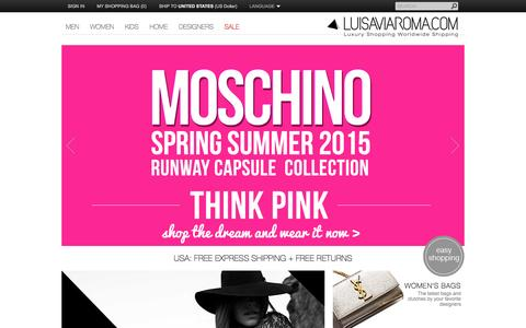 Screenshot of Home Page luisaviaroma.com - LUISAVIAROMA - LUXURY SHOPPING WORLDWIDE SHIPPING - FLORENCE - captured Sept. 25, 2014