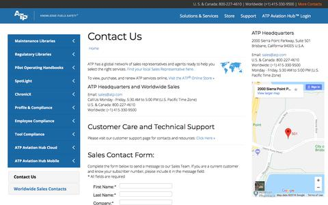 Screenshot of Contact Page atp.com - Contact Us   ATP - Knowledge Fuels Safety - captured July 28, 2018