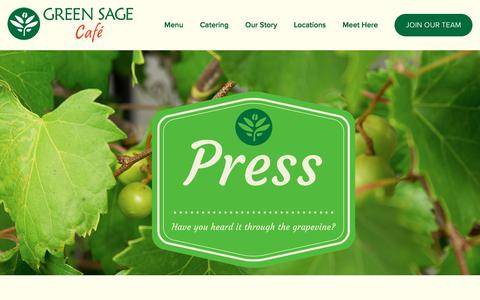 Screenshot of Press Page greensagecafe.com - Our Press — Green Sage Cafe - captured Oct. 22, 2017