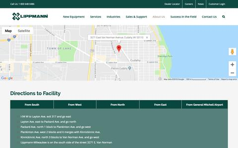 Screenshot of Maps & Directions Page lippmann-milwaukee.com - Directions to our Facility | Lippmann-Milwaukee | Cudahy WI - captured Sept. 29, 2018