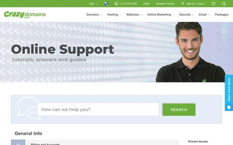 Screenshot of Support Page crazydomains.com - Crazy Domains Support - Tutorials, Answers, Guides - Support | CrazyDomains.com - captured Dec. 1, 2019