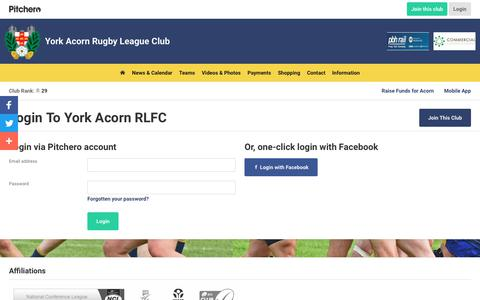 Screenshot of Login Page pitchero.com - York Acorn RLFC - captured Oct. 21, 2018