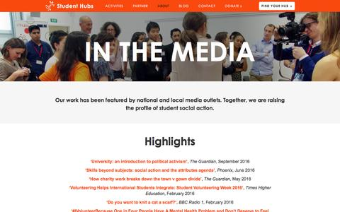Screenshot of Press Page studenthubs.org - Media |  Student Hubs - captured Dec. 17, 2016