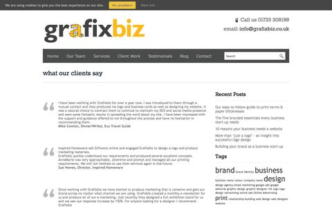 Screenshot of Testimonials Page grafixbiz.co.uk - what our clients say - captured Sept. 30, 2014