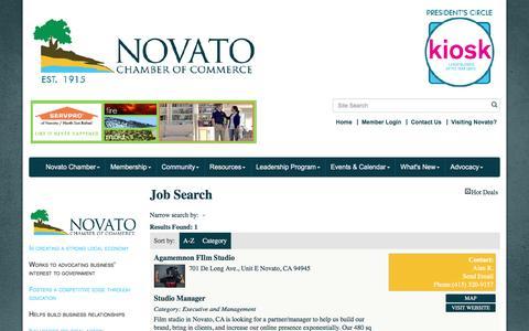 Screenshot of Jobs Page novatochamber.com - Job Search - Novato Chamber of Commerce, CA - captured Dec. 12, 2016
