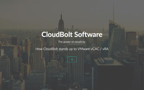 Screenshot of Landing Page cloudbolt.io - CloudBolt vs VMWare vCloud Automation Center (vCAC/vRealize) - captured March 3, 2016