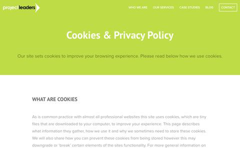 Screenshot of Terms Page projectleaders.co.uk - Cookies & Privacy Policy |  Project Leaders - captured Sept. 30, 2018
