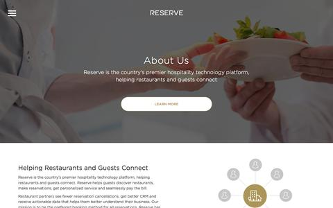 Screenshot of About Page reserve.com - Reserve: Restaurant Reservations and Payment - captured May 10, 2016