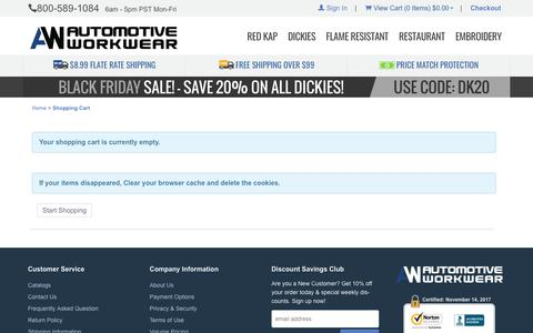 Automotive Workwear: Shopping Cart