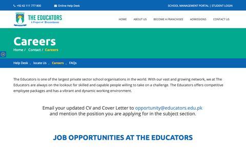 Screenshot of Jobs Page educators.edu.pk - Careers - The Educators - captured Feb. 10, 2019