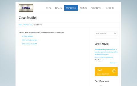 Screenshot of Case Studies Page vidtek.com - Case Studies | Vidtek Associates Inc. - captured Oct. 7, 2014